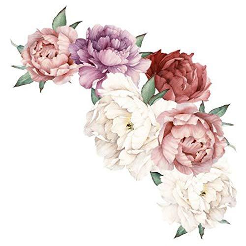 Papel Pintado Floral, Rosa Peonía Grande Pegatinas De Pared Flor Romántica Flores Decoración Mural...
