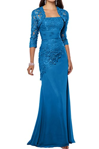 Prom Style Elegant E-tui Chiffon Spitze Abendkleider Brautmutterkleider Festkleider lang Blau