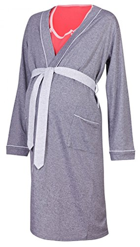Happy Mama Maternity Gown Robe Nightie for Labour & Birth. SOLD SEPARATELY 393p (Robe - Graphite, UK 12/14, L)