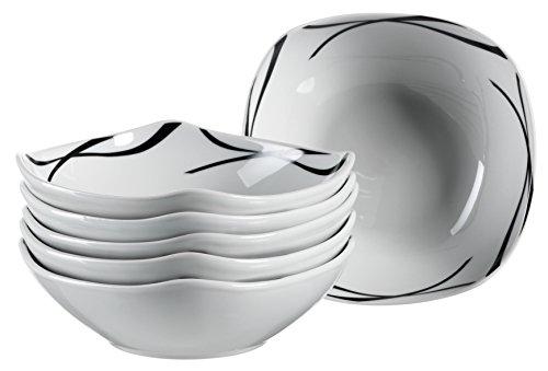 MÄSER Serie Oslo, Müslischüssel 14 cm, Porzellan Frühstücks-Schalen im 6er-Set