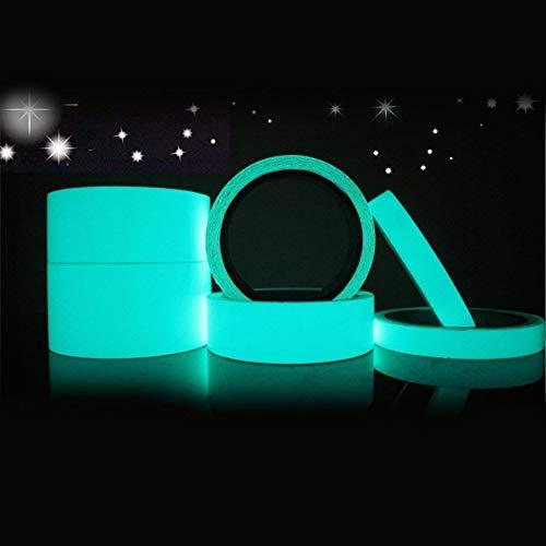 Chinajiaodai 1 pz 2cmx5m nastro riflettente bagliore adesivo autoadesivo rimovibile nastro luminoso fluorescente incandescente scuro avvertimento nastro adesivo, blu