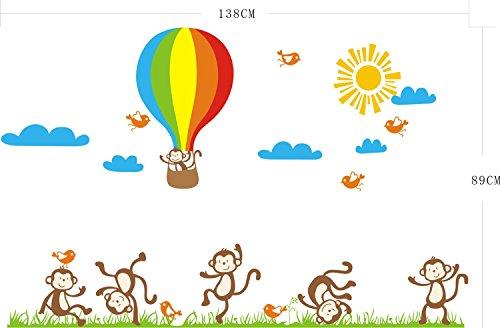 AdornHome Wandtattoo,Wandsticker,Wandaufkleber,Kinder baby Zimmer Kindergarten affen rasen Wall Sticker