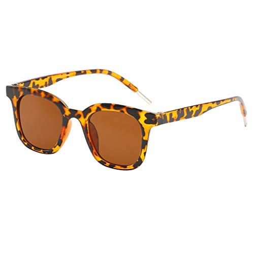 fazry Herren Damen Einfach Mode Jahrgang Flacher Spiegel Mode Brille Brillen Sonnenbrille(Braun)