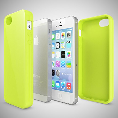 iPhone SE 5 5S Hülle Handyhülle von NICA, Ultra-Slim TPU Silikon Jelly Case, Dünnes Cover Gummi Schutzhülle Skin, Etui Handy-Tasche Backcover Bumper für Apple iPhone 5 5S SE Phone - Gelb Neon Grün Gelb