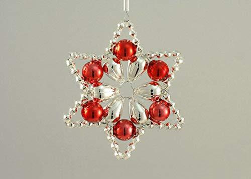 Silber Roter Stern Tschechische böhmische Weihnachten, Baum, Geschenk, Ornamente, Glasperlen Projekt Handmade Hobby DIY Kit Set 60mm