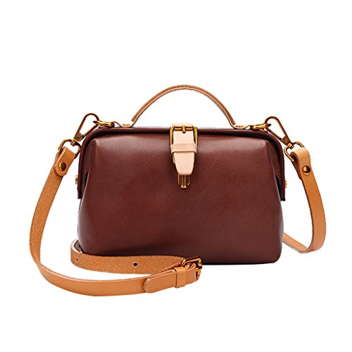 Mena UK Borsa di cuoio molle di stile dell'annata della signora e delle donne grandi borse della spalla ( Colore : Marrone , dimensioni : 20cm*13cm*8cm ) Marrone