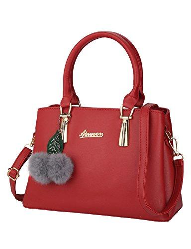 Frauen PU Leder Henkeltaschen mit Hairball Vintage Tasche Handtasche Umhängetasche Damen (Rote Handtasche)