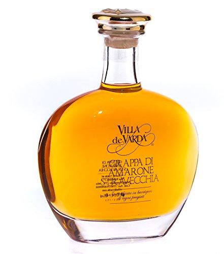 Villa de Varda Grappa Amarone Stravecchia Alta Selezione - Premium-Grappa / 40 % / 0,7 Liter-Flasche in Kästchen aus Mahagoniholz