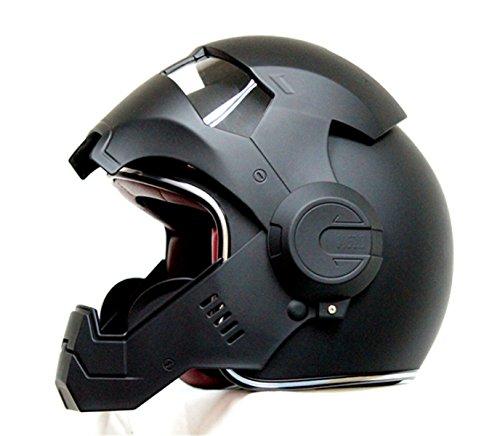 2017 Top Heißer Black Iron Man Helm Motorrad Helm Halb Helm Offenen Gesicht Helm Casque Motocross GRÖßE: S M L XL XXL,Black-L - 4