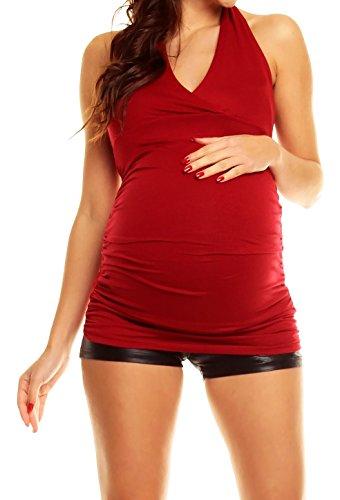 Happy Mama Damen Umstands-Top mit Neckholder Jersey Oberteil für Schwangere 167p Purpur