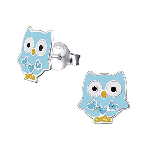 Quirky Paire de petite taille en argent sterling Bleu Boucles d'oreilles clous Hibou Coloré avec revêtement