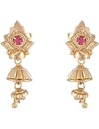 SKN 22kt Gold Plated Copper Metal Daily Wear Dangle & Drop Jhumki Earrings For Women & Girls (SKN-1605)