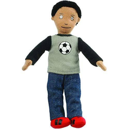 Fingerpuppe & Stoffpuppe - Junge / Mann mit Fußball - Plüsch - Fingertiere / Fingerspielpuppe - Handpuppe / Handspielpuppe - Ball Vater Kind Familie Fußballer..