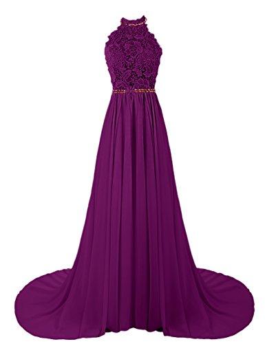 Dresstells, Robe de soirée Robe de cérémonie Robe de gala mousseline dentelle forme princesse dos nu traîne mi-longue Raisin