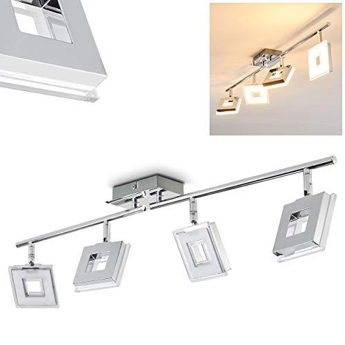 LED Deckenleuchte Krakau, Deckenlampe in Chrom, 4-flammig, mit 4 verstellbaren Strahlern,
