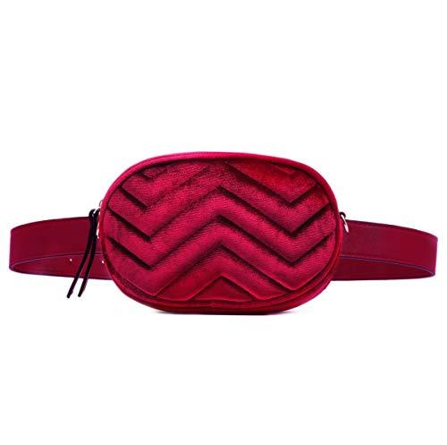 CRAZYCHIC - Damen Hüfttasche Gürteltasche Bauchtasche - Ovale Geldbörse Fashion Bumbag - Kleine Mini Umhängetasche Kette Schultertasche - Gestepptes Leder Samt Pelz - Mode Clutch - Rot -
