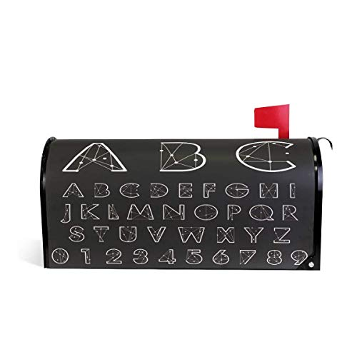prz0vprz0v Deometric Alphabet Line Diamond Magnetic Mailbox Cover Home Garden Decorations Standard Size 21 x 18 Inches Waterproof Canvas Mailbox Coveres -