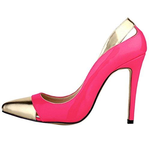 Oasap Women Fashion Paneled Cut Out Kitten High Heel Court Shoes Fuchsia