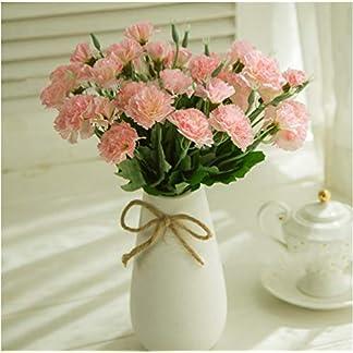 MZMing Flores Artificiales [4 Piezas] Mejor Regalo 10 Flor Artificial de Clavel Flor de Seda Artificial Arbusto de Boda en Casa Decoración de Florero en Tumba – Rosa Claro