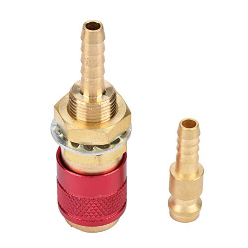 M6 Schnellkupplungsset Schnellkühler für wassergekühlten Gasanschluss für MIG WIG-Schweißbrenner für Schweißbrenner(Rot)