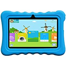 "JINYJIA 7"" Android 4.4 Google Niños Tablet PC + Funda de Silicona Azul, Aplicaciones Preinstaladas para Niños, Allwinner A33 1.5GHz Quad-Core Dual Cámaras Bluetooth WiFi 8GB"