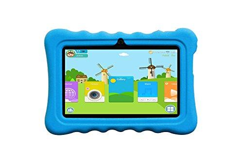 JINYJIA 7″ Android 4.4 Google Niños Tablet PC + Manguita de Silicona Celeste, Aplicaciones Preinstaladas para Niños, Allwinner A33 1.5GHz Quad-Core Dual Cámaras Bluetooth WiFi 8GB