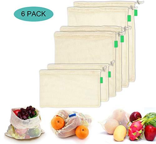 AYUTOY 6 Piezas Bolsas de Vegetales Reutilizables de algodón Bolsa de Malla Lavable Bolsas de Malla Transpirables Adecuado para Frutas y Verduras (2X S, 2X M, 2X L)