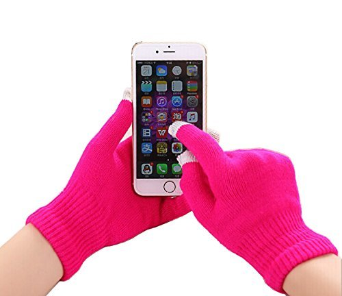 2Ticks Hot Pink warme Winter Handschuhe Gestrickte Touch-Handschuhe Männer Frauen Touch Screen Samsung Galaxy J7 (2017) AT&T (T Stretch-spitze Knit)