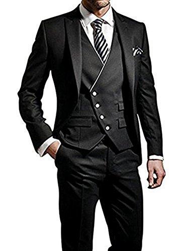 TPSAADE 2017 Schwarz Formal Hochzeitsanzug Anzug Tuxedos 3 Stück Anzug Jacke, Hose, Weste, Rauchen Bräutigam Herren Anzüge ()