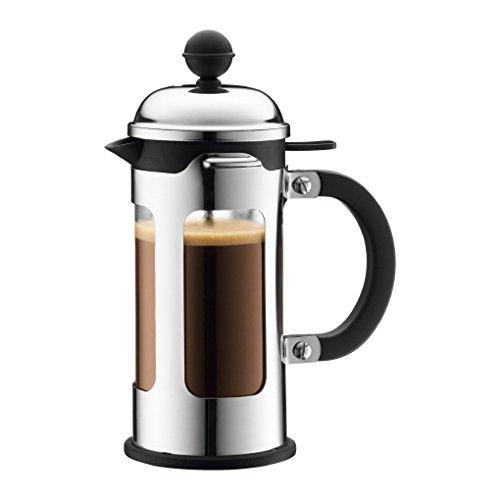 Bodum CHAMBORD Kaffeebereiter (French Press System, Auslaufschutz, Edelstahlrahmen, 1,0 liters)...