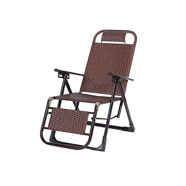 MRZZ Wicker Chair Recliner,folding Lunch Break Lazy Office Nap Bed Outdoor Beach Chair Adult Siesta Backrest Lounge Chair Balcony Garden Office. (Color : Bronze)  No need to install and retract freely, 2 seconds fast folding storage, storage does not occupy land. Bold steel pipe, strong bearing capacity, high pressure resistance, strong toughness, not easy to deform. Artificial double-sided rattan, cool and breathable sunscreen and rainproof. 1