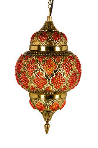 Orientalische Messing Lampe Pendelleuchte Gold Alyah 38cm E27 Lampenfassung   Marokkanische Design Hängeleuchte Leuchte   Orient Lampen für Wohnzimmer, Küche oder Hängend über den Esstisch