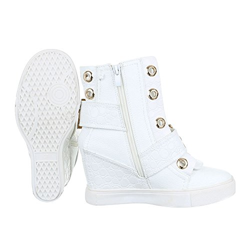 Keilstiefeletten Damenschuhe Keilabsatz/ Wedge Schnallen Ital-Design Stiefeletten Weiß