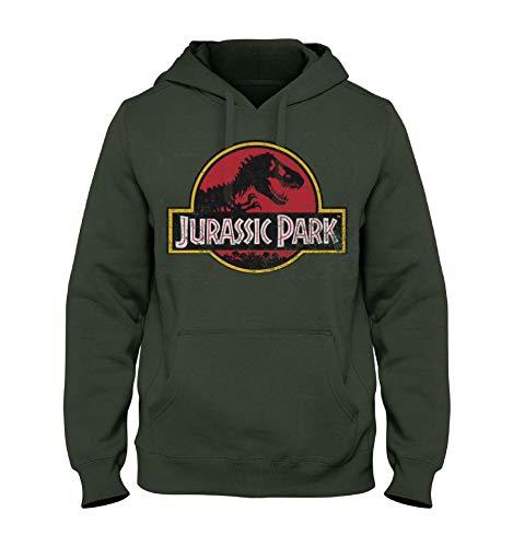 Cotton Division Jurassic Park Hoodie Movie Logo mit Kapuze Baumwolle grün - M (Sweatshirt Jurassic Park)