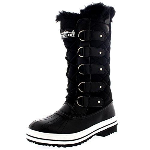 damen-schnee-stiefel-nylon-tall-wasserdicht-gefuttert-regen-stiefel-schwarz-40-cd0025