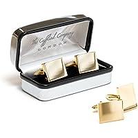 Occasions Direct-Gemelli rettangolari In oro, con incisione, Placcato oro