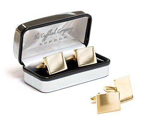 Gemelos, chapados en plata u oro, diseño personalizable, en caja cromada, dorado