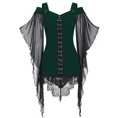 Gothic Mädchen Kostüm Toten - LILIGOD Frauen Gothic Bluse Lace Langarm Oberteil Damen Halloween Cosplay Kostüm Spitze Nähen Halloween-Hexenspitze Plus Size Tops T-Shirt Einfarbig Sexy Tuniken Lolita Kleid