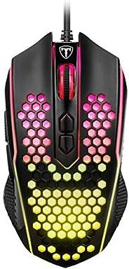PICTEK Mouse Gaming, Mouse RGB 8 Pulsanti Proggrammabili 8000 DPI Pulsante di Fuoco Disegno Ergonomico, Nero (