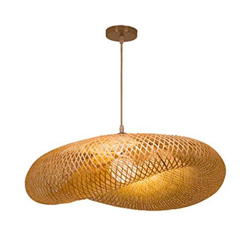 Vintage Weben Kronleuchter natürlichen Bambus und Rattan gewebt Hängeleuchten kreative Lichterkette einstellbar E27 pendellampe Restaurant Teestube Schlafzimmer Wohnzimmer Cafe Bambus pendelleuchten