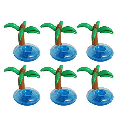 Amosfun portabicchieri gonfiabili forma albero di cocco portabevande gonfiabile per piscina 6 pezzi