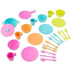 KidKraft Juego infantil de 27 utensilios de cocina en colores brillantes, juego de imitación para niños con accesorios incluidos, Multicolore (63319)