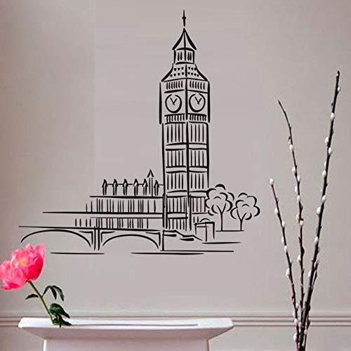London Landmark Gebäude Schwarz Cartoon Big Ben Wandaufkleber Ausgangsdekor Wohnzimmer Pvc Wasserdichte Tapete