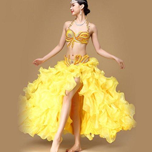 MoLiYanZi Bauchtanz Anzug Outfit Performance Für Frauen Bauchtanz Kostüm Bra Gürtel Große Schaukel Kleid, Yellow, ()