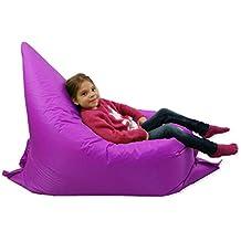 Puf grande para niños tipo BeanBag para jardín que adopta 6 formas. Pufs gigantes para niños, ideal para jardines y exteriores, de color púrpura,100% resistente al agua