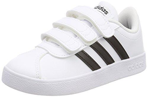 Adidas vl court 2.0 cmf c, scarpe da tennis unisex-bambini, bianco cblack/ftwwht 000, 33 eu