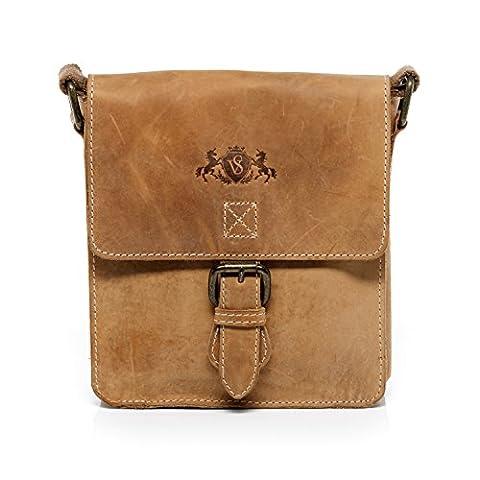Scotch & Vain small cross-body bag - leather bag with shoulder strap HENRY Vintage-Look - shoulder bag light-tan leather
