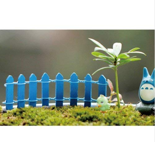 Eulan Decoration Starworld Miniature Small Wood Fence, DIY Fairy Garden Micro Dollhouse Plant Pot Decoration for Bonsai Terrarium Aquarium Ornament (Blue) -