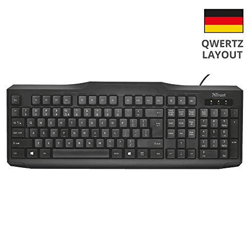 Trust ClassicLine Tastatur (spritzwassergeschützt, leiser Tastenanschlag, USB, QWERTZ, deutsches Tastaturlayout) schwarz -