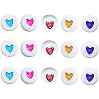 Toyvian Granos acrílicos Corazón Oblato Beads artesanales Redondos Joyería Kits para niñas DIY Collares Pulsera Juegos